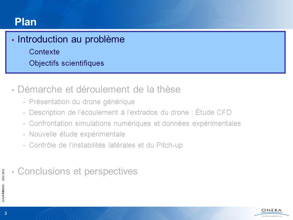 DAAP/MMHD - JDD 2012 14 Description de lécoulement = 19° Ligne dattachement du vortex dapex Remontée du tip vortex Ecoulement de retour Vitesse = 0 Intro | Présentation du drone | Description de lécoulement | Contrôle | Perspectives