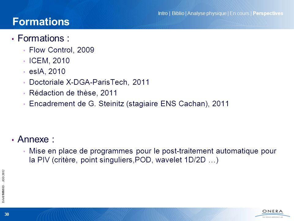 DAAP/MMHD - JDD 2012 30 Formations Formations : Flow Control, 2009 ICEM, 2010 eslA, 2010 Doctoriale X-DGA-ParisTech, 2011 Rédaction de thèse, 2011 Enc