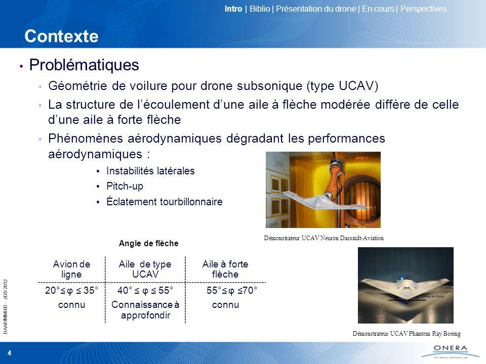 DAAP/MMHD - JDD 2012 5 Objectifs scientifiques Caractérisation de lécoulement Meilleure connaissance de la phénoménologie de lécoulement : naissance et développement des structures tourbillonnaires à lextrados dun UCAV générique Mise en place de nouvelles études numériques et expérimentales Contrôle de lécoulement aérodynamique Limiter les effets des non linéarités aérodynamiques Améliorer les performances aérodynamiques du drone Objectifs scientifiques communs aux groupes RTO-AVT161/183 Amélioration de la manoeuvrabilité des drones Validation des codes de simulations numériques Intro | Présentation du drone | Description de lécoulement | Contrôle | Perspectives
