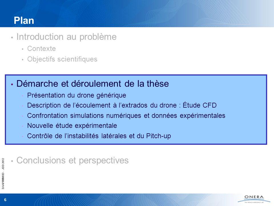 DAAP/MMHD - JDD 2012 6 Plan Introduction au problème Contexte Objectifs scientifiques Démarche et déroulement de la thèse Présentation du drone généri