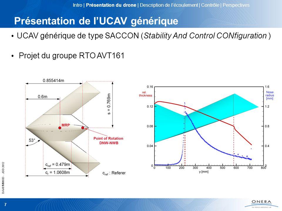 DAAP/MMHD - JDD 2012 7 Présentation de lUCAV générique UCAV générique de type SACCON (Stability And Control CONfiguration ) Projet du groupe RTO AVT16