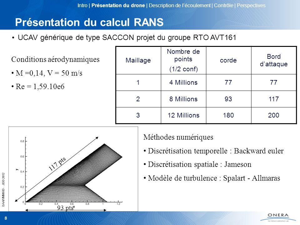 DAAP/MMHD - JDD 2012 8 Présentation du calcul RANS Maillage Nombre de points (1/2 conf) corde Bord dattaque 14 Millions77 28 Millions93117 312 Million