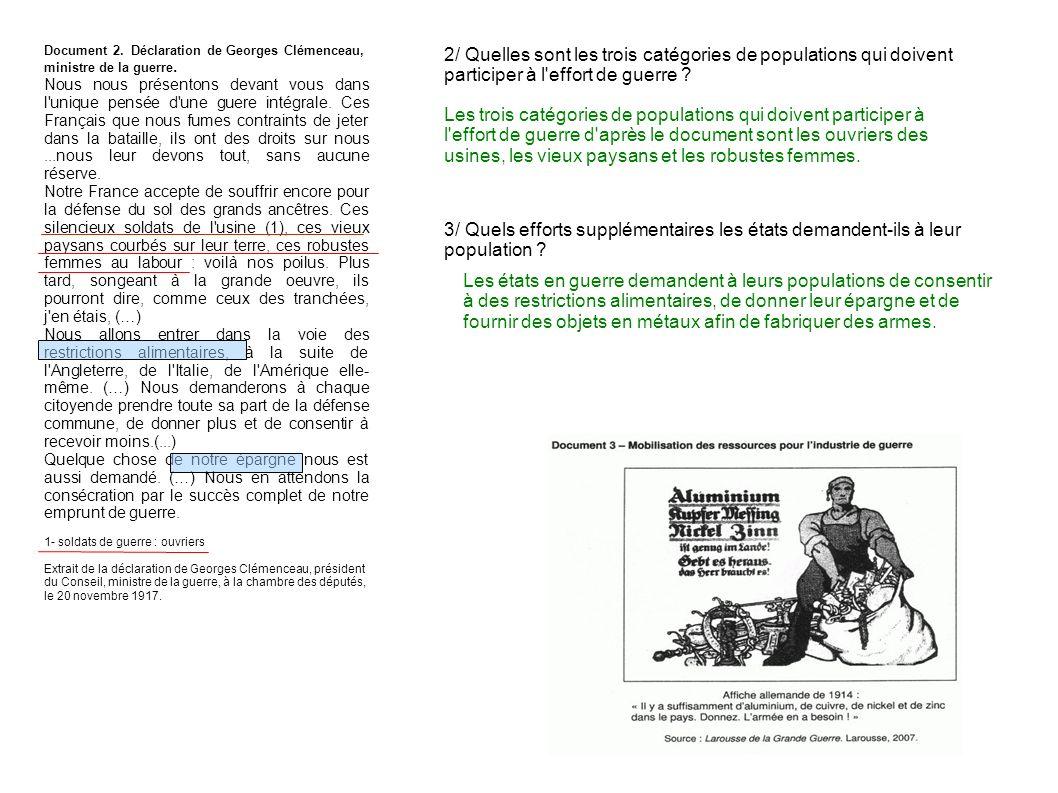 Document 2. Déclaration de Georges Clémenceau, ministre de la guerre.
