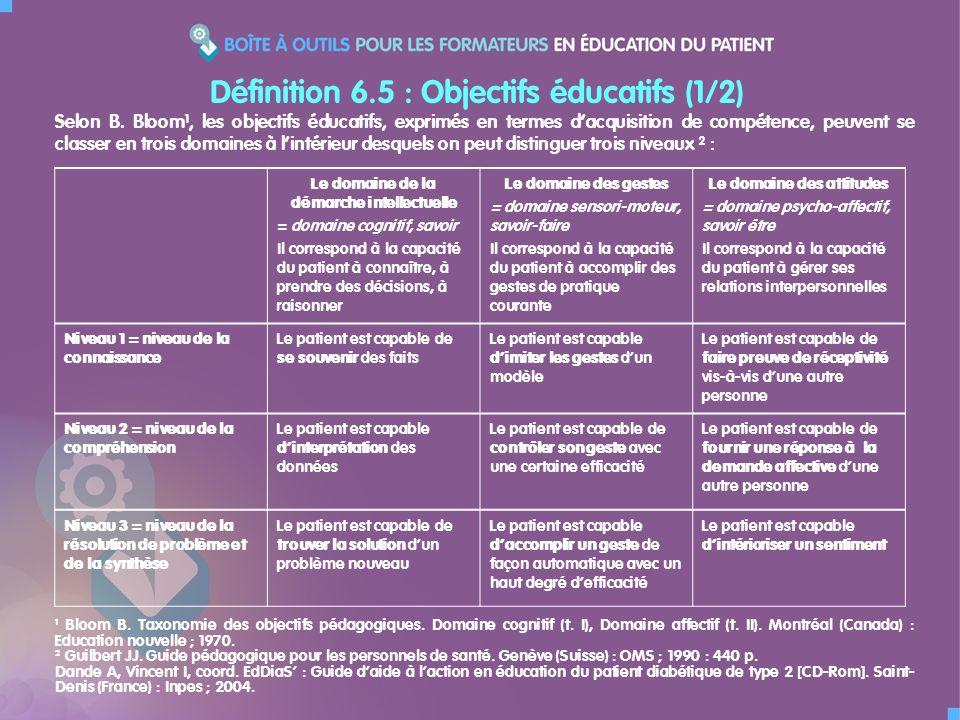Définition 6.5 : Objectifs éducatifs (1/2) Le domaine de la démarche intellectuelle = domaine cognitif, savoir Il correspond à la capacité du patient