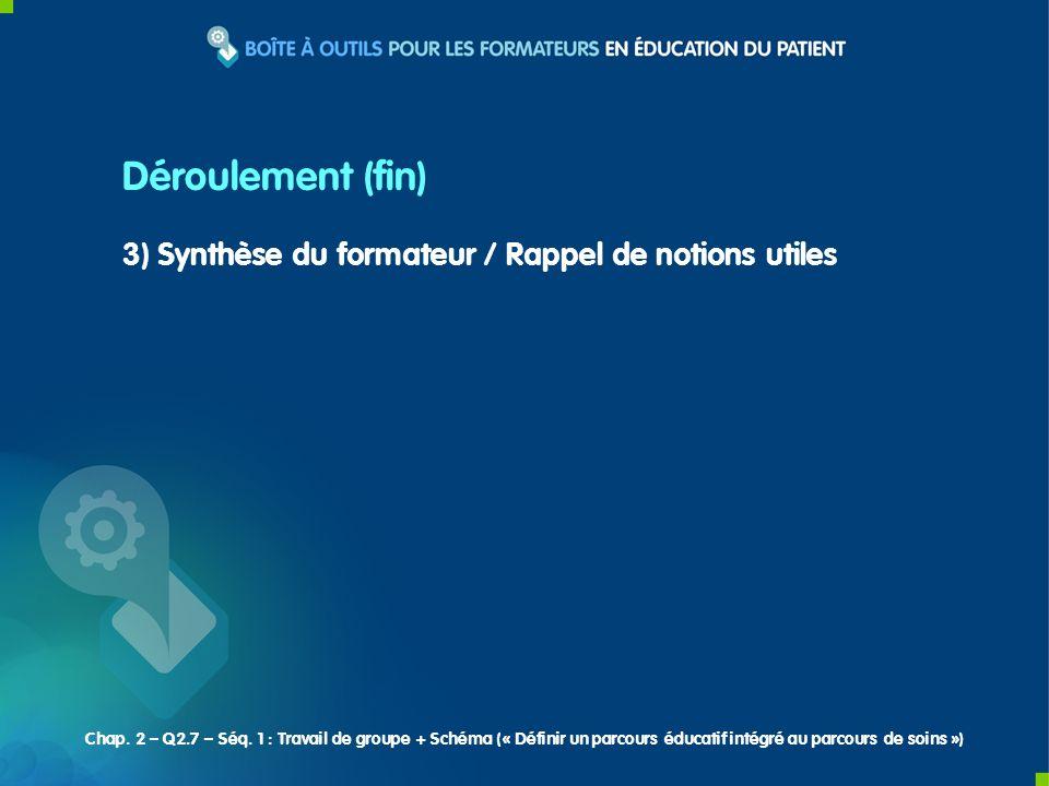 3) Synthèse du formateur / Rappel de notions utiles Déroulement (fin) Chap.