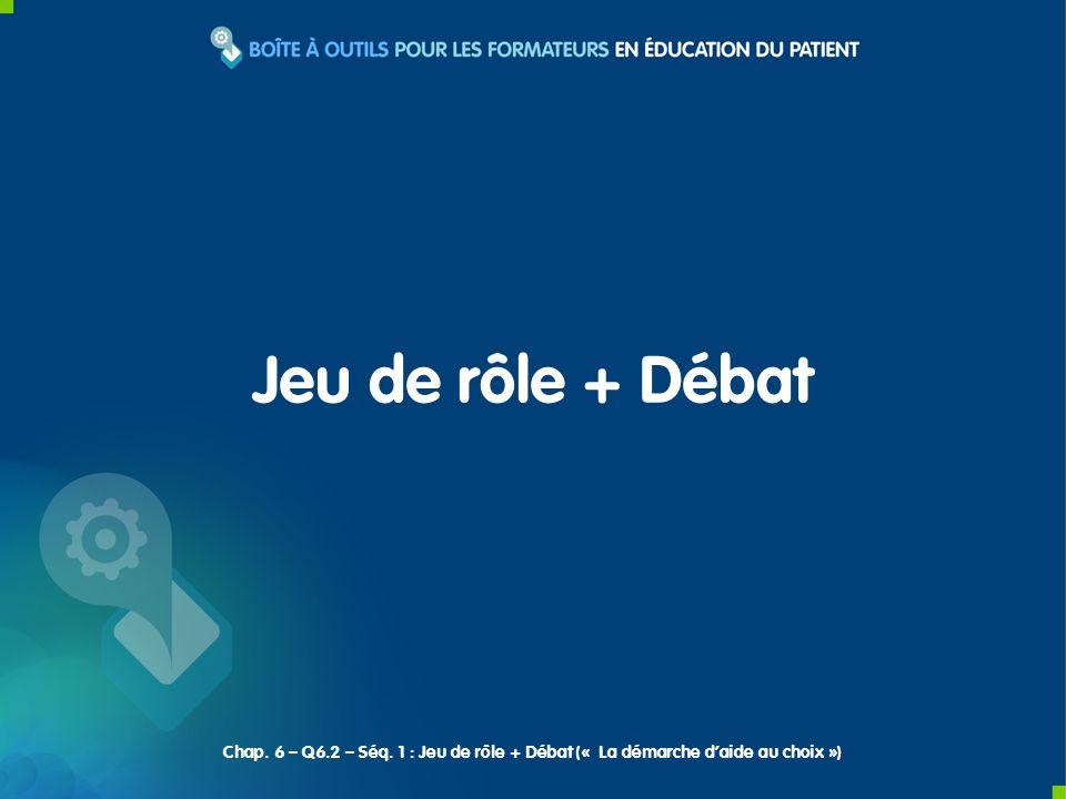 Jeu de rôle + Débat Chap. 6 – Q6.2 – Séq. 1 : Jeu de rôle + Débat (« La démarche daide au choix »)