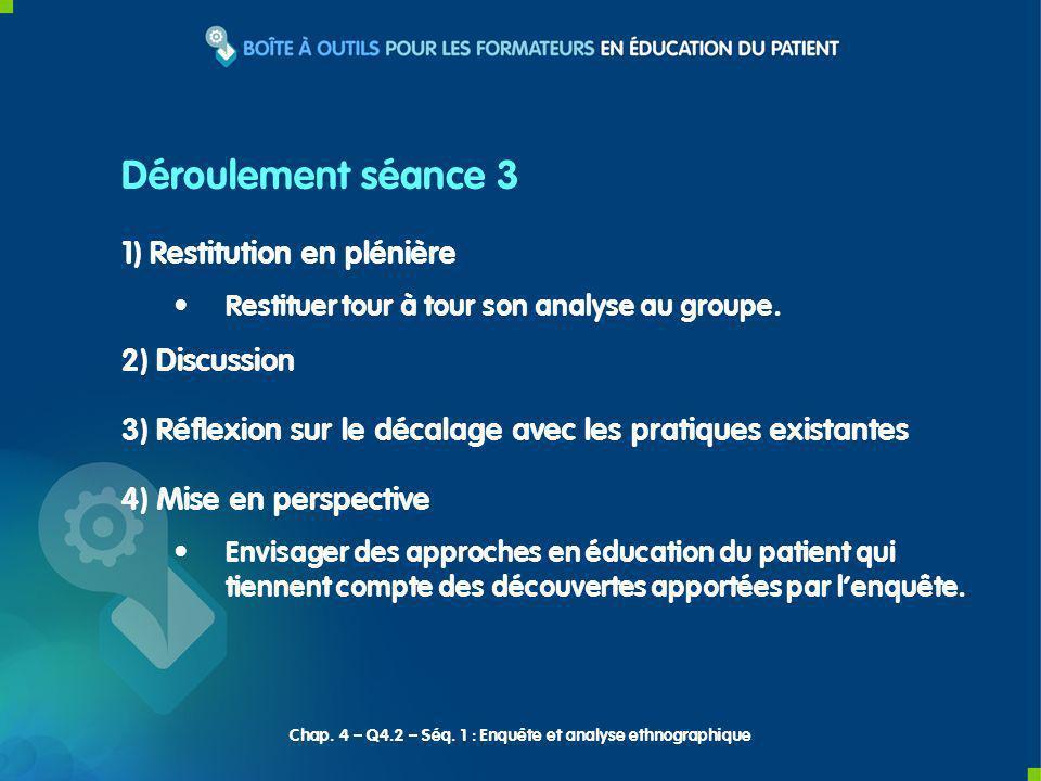 1) Restitution en plénière Restituer tour à tour son analyse au groupe. 2) Discussion 3) Réflexion sur le décalage avec les pratiques existantes 4) Mi