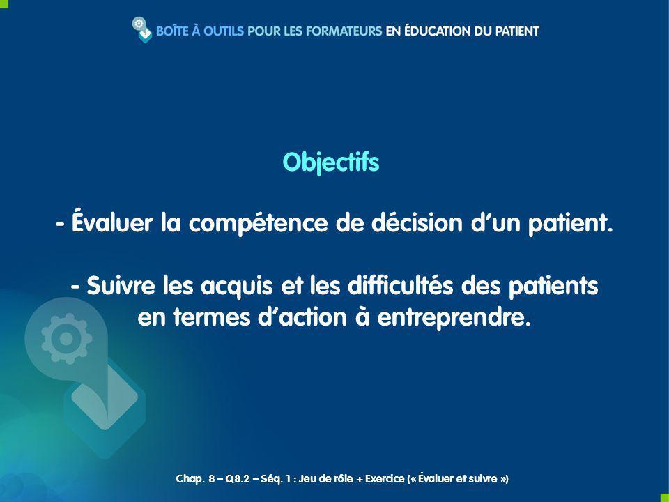 - Évaluer la compétence de décision dun patient.