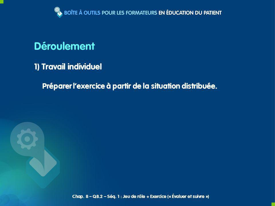 1) Travail individuel Préparer lexercice à partir de la situation distribuée.