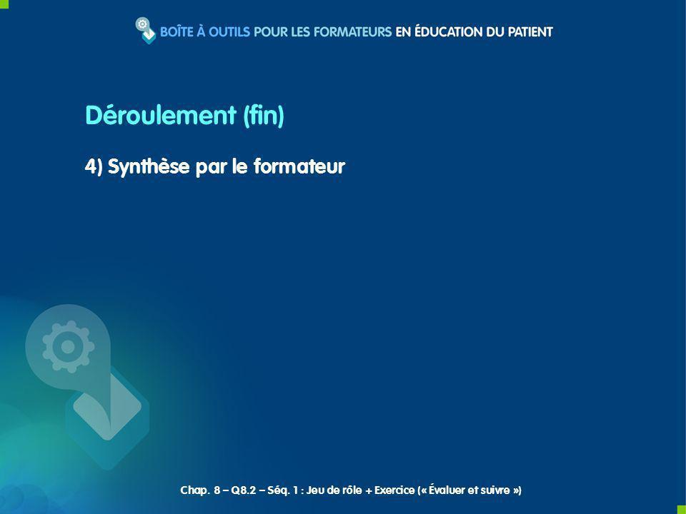 4) Synthèse par le formateur Déroulement (fin) Chap.