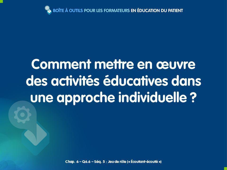 Comment mettre en œuvre des activités éducatives dans une approche individuelle ? Chap. 6 – Q6.6 – Séq. 5 : Jeu de rôle (« Écoutant-écouté »)