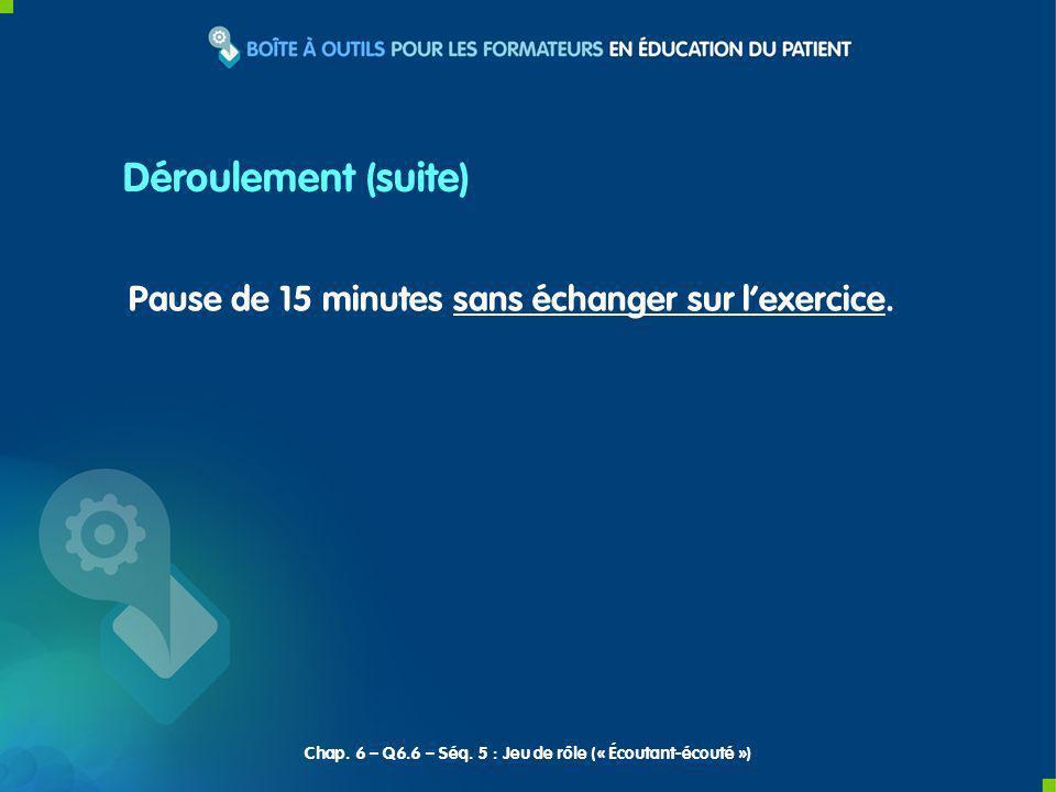 Pause de 15 minutes sans échanger sur lexercice. Chap. 6 – Q6.6 – Séq. 5 : Jeu de rôle (« Écoutant-écouté ») Déroulement (suite)