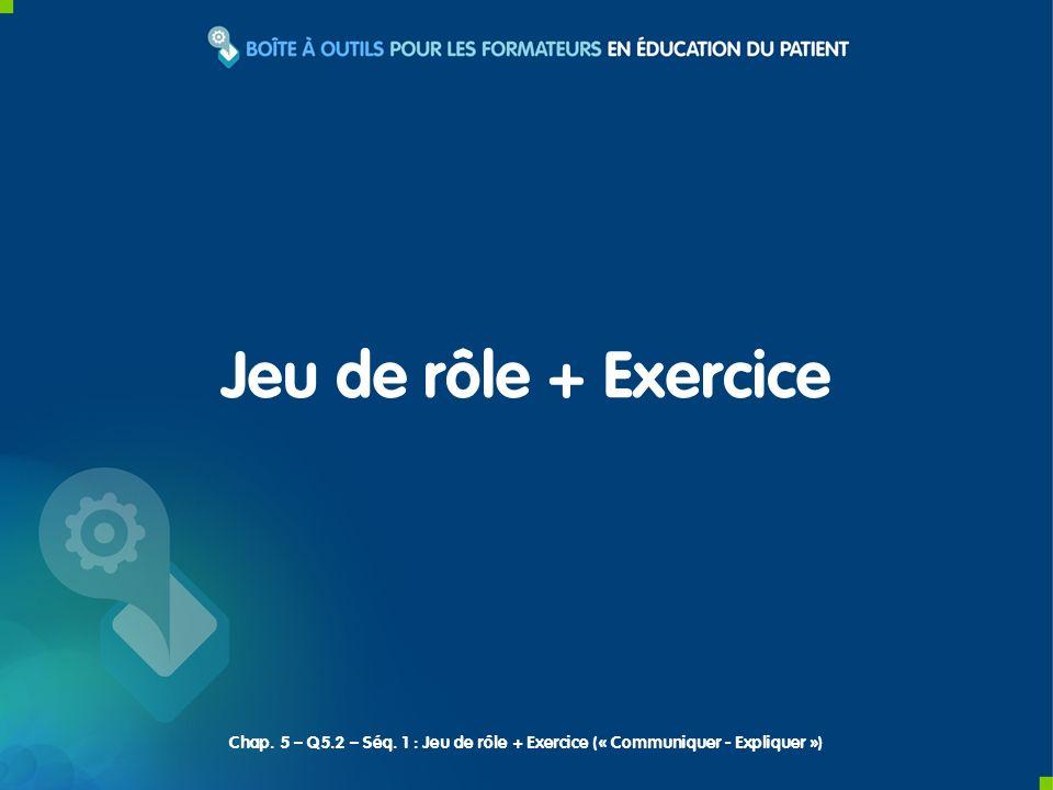 Jeu de rôle + Exercice Chap. 5 – Q5.2 – Séq. 1 : Jeu de rôle + Exercice (« Communiquer - Expliquer »)