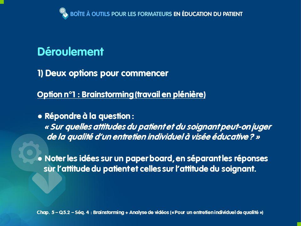 1) Deux options pour commencer Option n°1 : Brainstorming (travail en plénière) Répondre à la question : « Sur quelles attitudes du patient et du soig