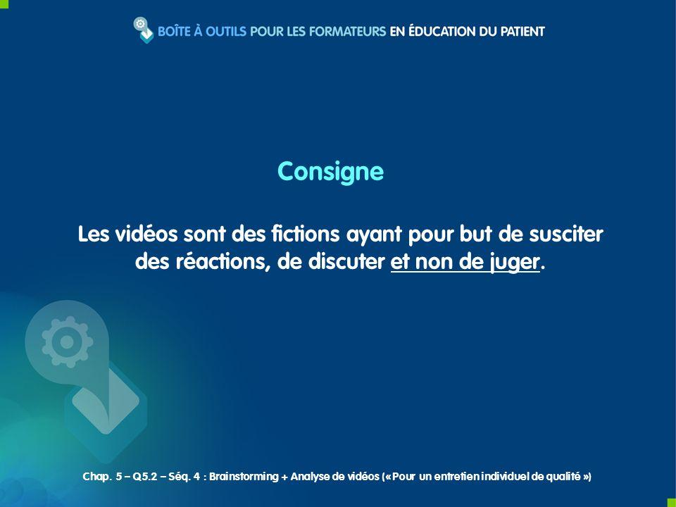 Les vidéos sont des fictions ayant pour but de susciter des réactions, de discuter et non de juger. Consigne Chap. 5 – Q5.2 – Séq. 4 : Brainstorming +