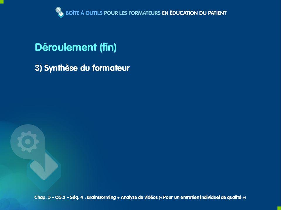 3) Synthèse du formateur Déroulement (fin) Chap. 5 – Q5.2 – Séq. 4 : Brainstorming + Analyse de vidéos (« Pour un entretien individuel de qualité »)
