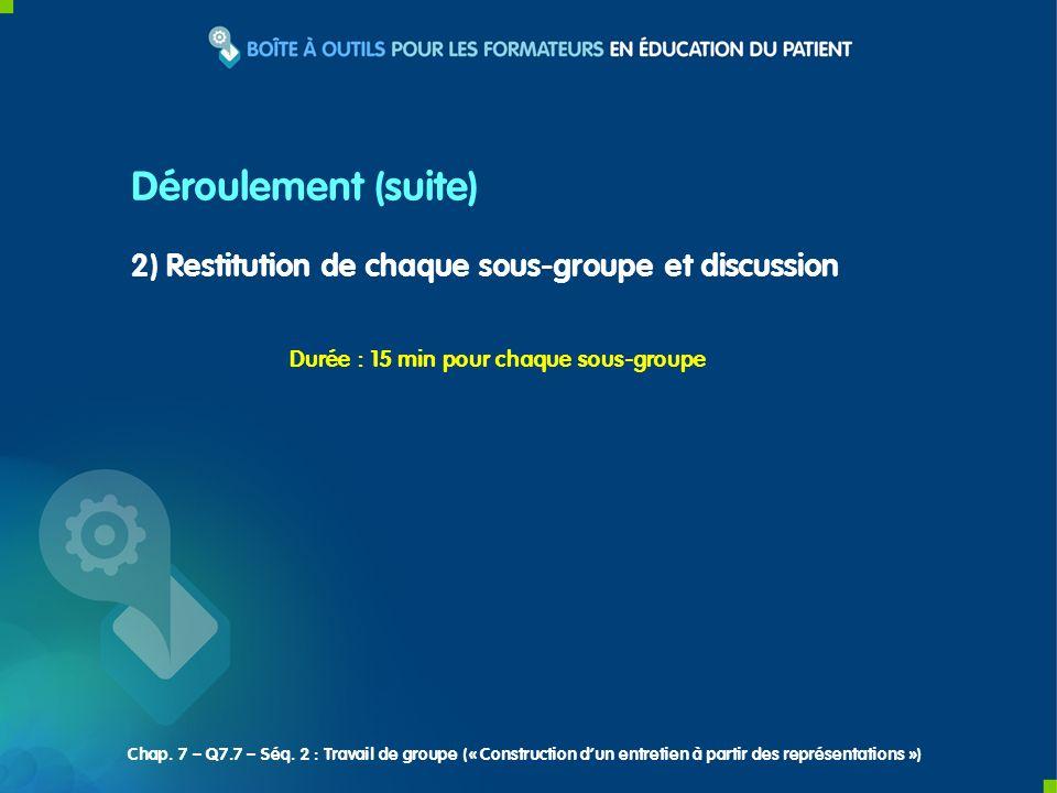 2) Restitution de chaque sous-groupe et discussion Déroulement (suite) Durée : 15 min pour chaque sous-groupe Chap.