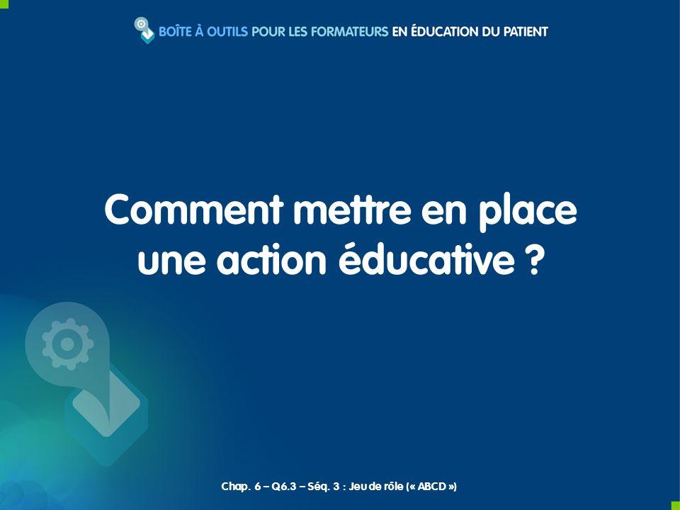 Comment mettre en place une action éducative ? Chap. 6 – Q6.3 – Séq. 3 : Jeu de rôle (« ABCD »)