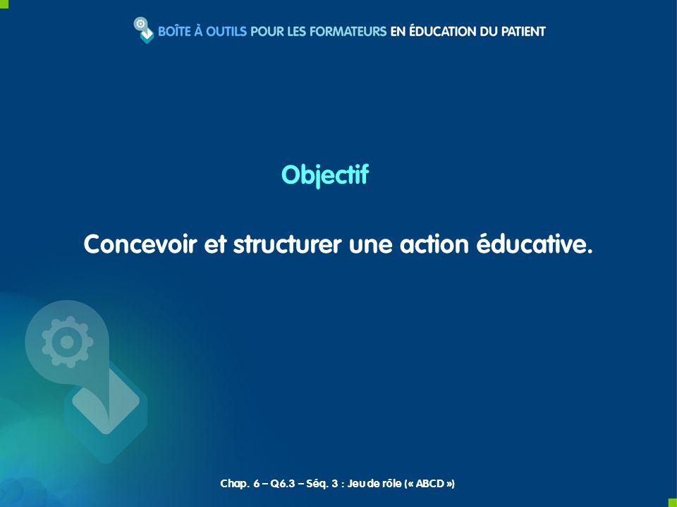 Concevoir et structurer une action éducative. Objectif Chap. 6 – Q6.3 – Séq. 3 : Jeu de rôle (« ABCD »)