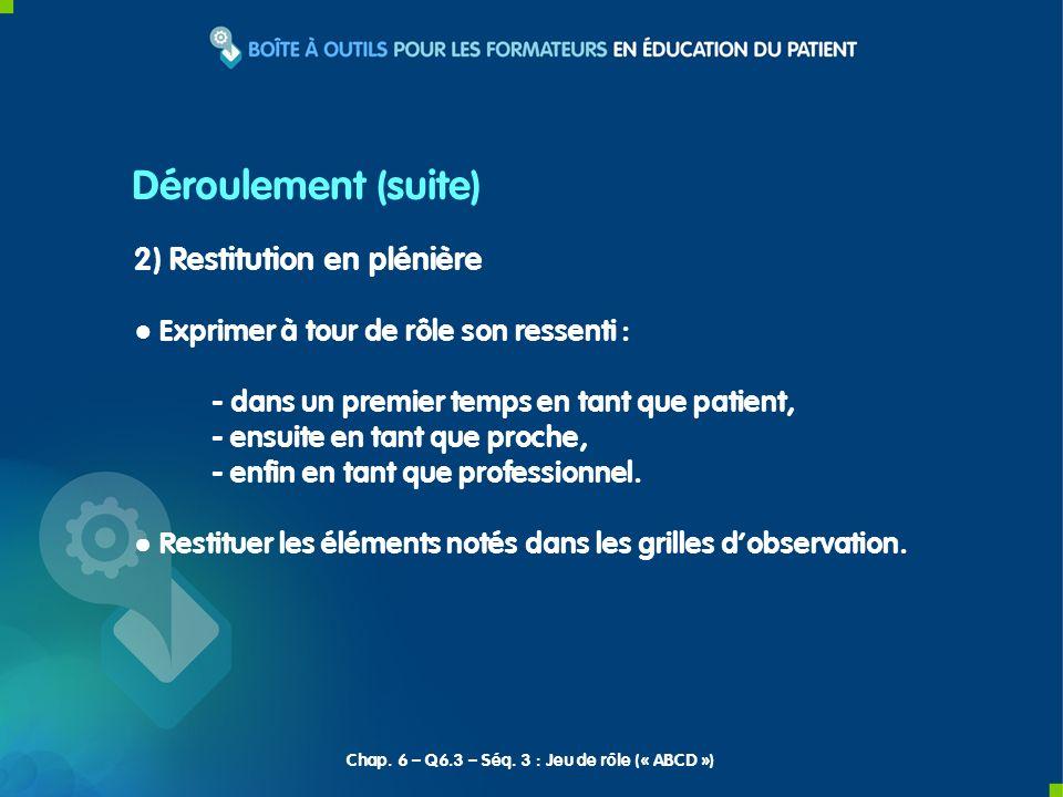 2) Restitution en plénière Exprimer à tour de rôle son ressenti : - dans un premier temps en tant que patient, - ensuite en tant que proche, - enfin e