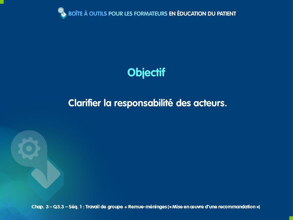 Clarifier la responsabilité des acteurs. Objectif Chap. 3 – Q3.3 – Séq. 1 : Travail de groupe + Remue-méninges (« Mise en œuvre dune recommandation »)