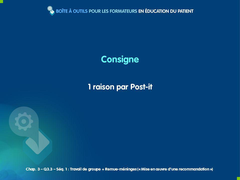 1 raison par Post-it Consigne Chap. 3 – Q3.3 – Séq.