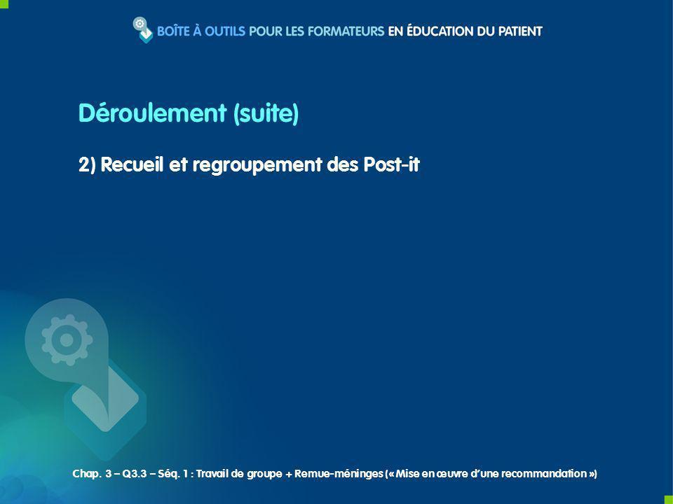2) Recueil et regroupement des Post-it Déroulement (suite) Chap. 3 – Q3.3 – Séq. 1 : Travail de groupe + Remue-méninges (« Mise en œuvre dune recomman