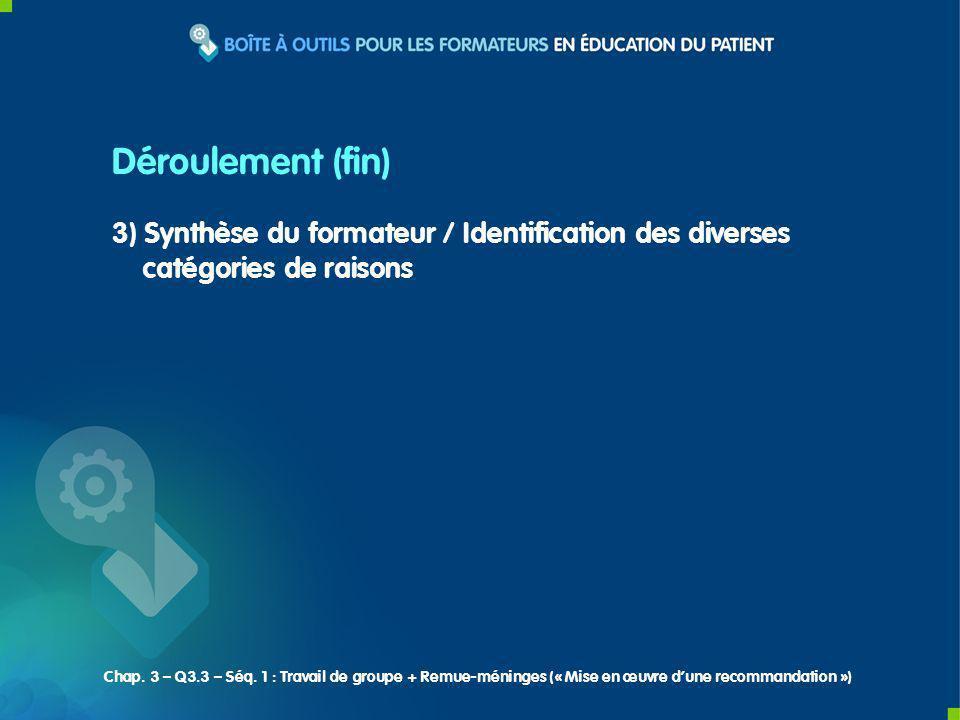 3) Synthèse du formateur / Identification des diverses catégories de raisons Déroulement (fin) Chap. 3 – Q3.3 – Séq. 1 : Travail de groupe + Remue-mén