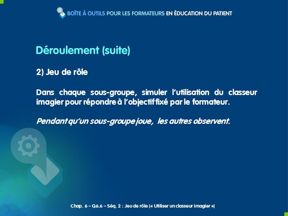 3) Synthèse du formateur Déroulement (suite) Chap.
