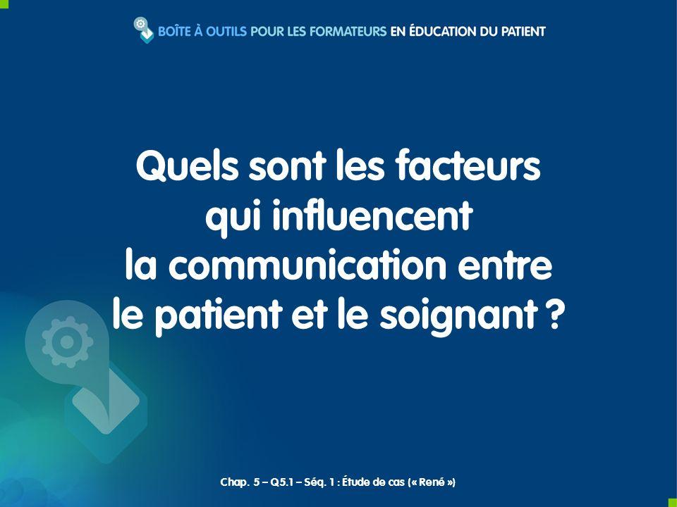 Quels sont les facteurs qui influencent la communication entre le patient et le soignant ? Chap. 5 – Q5.1 – Séq. 1 : Étude de cas (« René »)