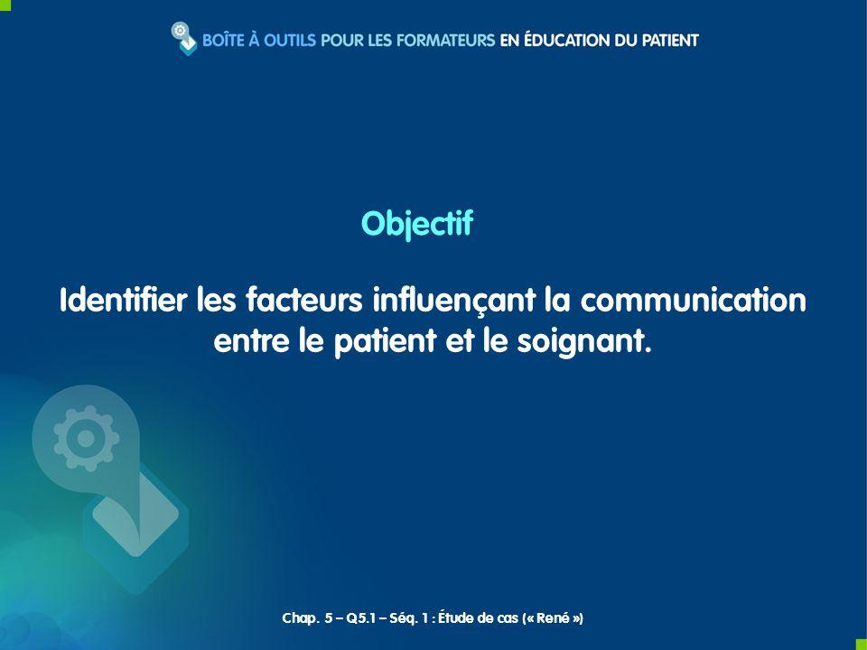 Identifier les facteurs influençant la communication entre le patient et le soignant. Objectif Chap. 5 – Q5.1 – Séq. 1 : Étude de cas (« René »)