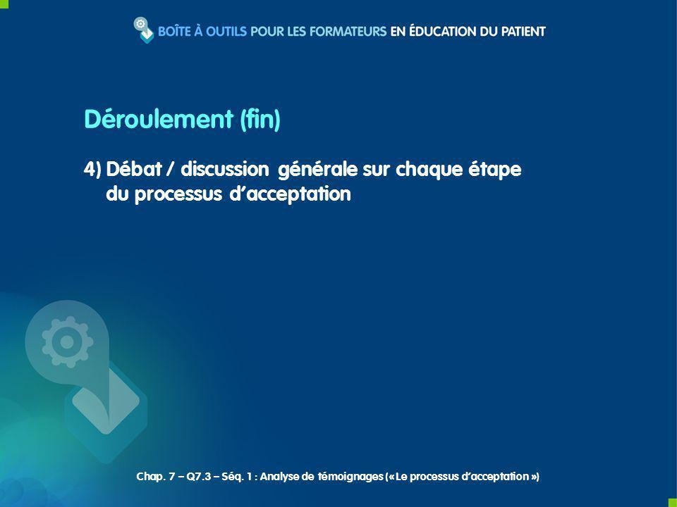 4) Débat / discussion générale sur chaque étape du processus dacceptation Déroulement (fin) Chap.