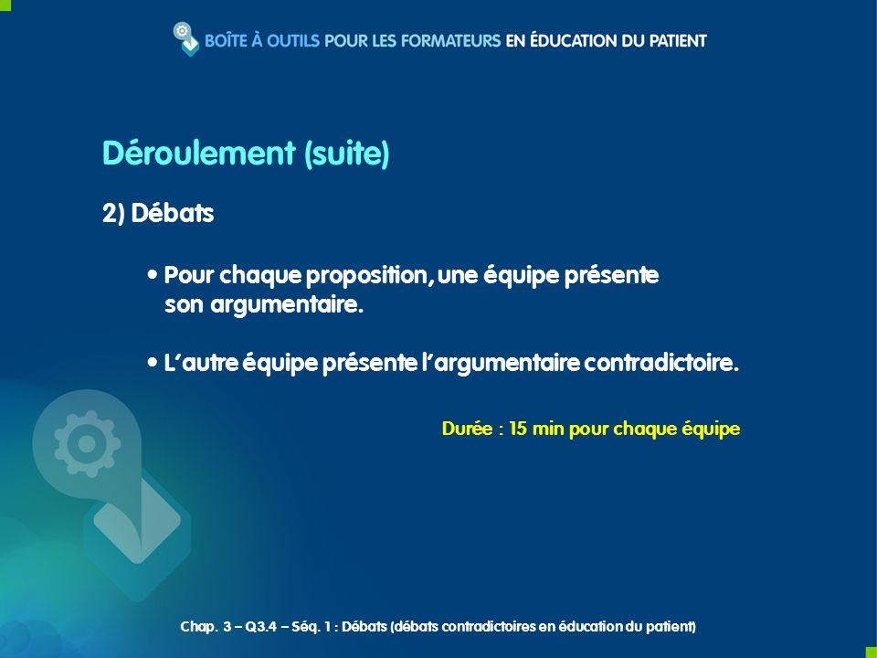 2) Débats Pour chaque proposition, une équipe présente son argumentaire.