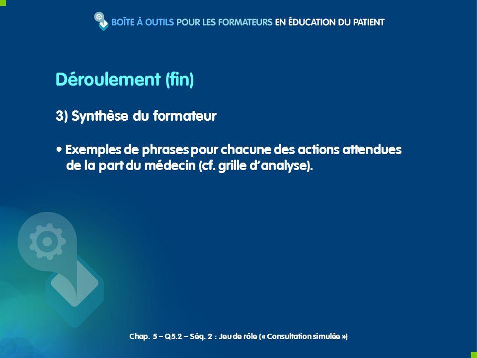 3) Synthèse du formateur Exemples de phrases pour chacune des actions attendues de la part du médecin (cf. grille danalyse). Déroulement (fin) Chap. 5