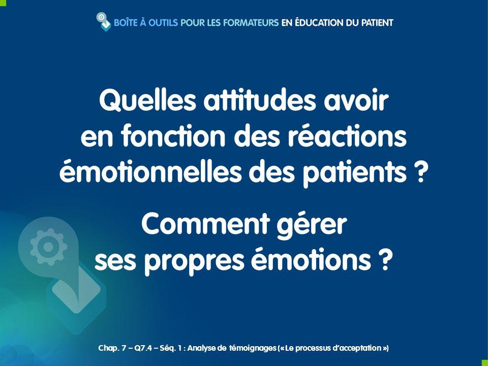 Quelles attitudes avoir en fonction des réactions émotionnelles des patients ? Comment gérer ses propres émotions ? Chap. 7 – Q7.4 – Séq. 1 : Analyse