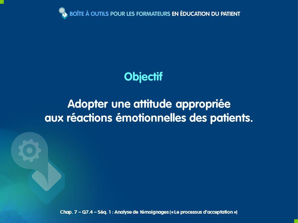 Adopter une attitude appropriée aux réactions émotionnelles des patients. Objectif Chap. 7 – Q7.4 – Séq. 1 : Analyse de témoignages (« Le processus da