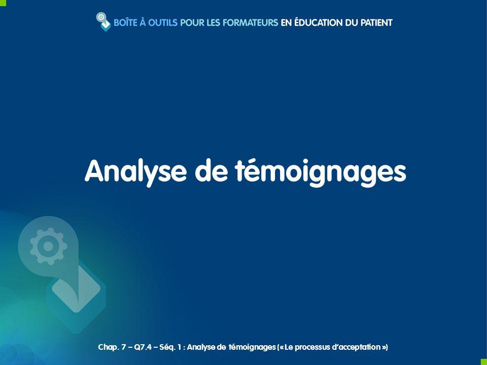 Analyse de témoignages Chap. 7 – Q7.4 – Séq. 1 : Analyse de témoignages (« Le processus dacceptation »)