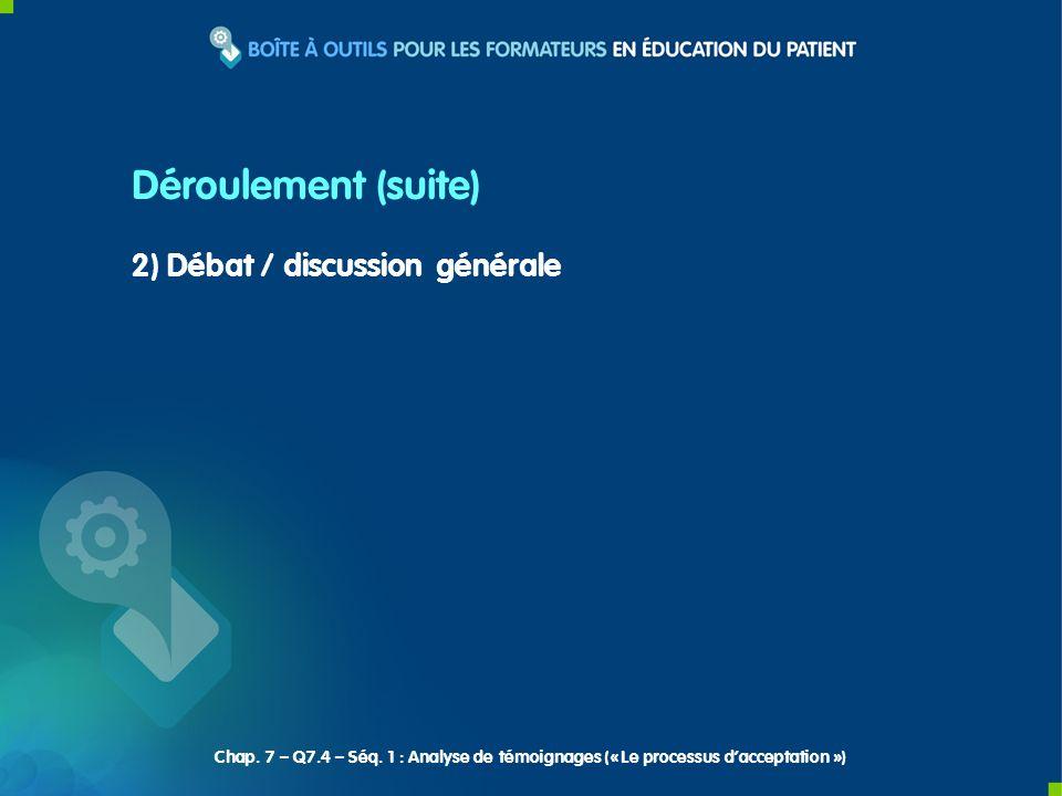 2) Débat / discussion générale Déroulement (suite) Chap. 7 – Q7.4 – Séq. 1 : Analyse de témoignages (« Le processus dacceptation »)
