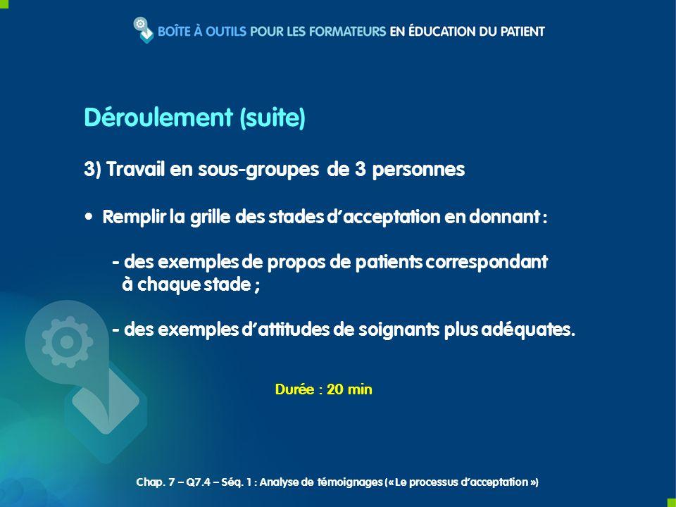 3) Travail en sous-groupes de 3 personnes Remplir la grille des stades dacceptation en donnant : - des exemples de propos de patients correspondant à