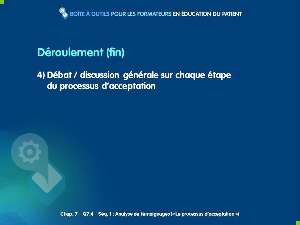4) Débat / discussion générale sur chaque étape du processus dacceptation Déroulement (fin) Chap. 7 – Q7.4 – Séq. 1 : Analyse de témoignages (« Le pro
