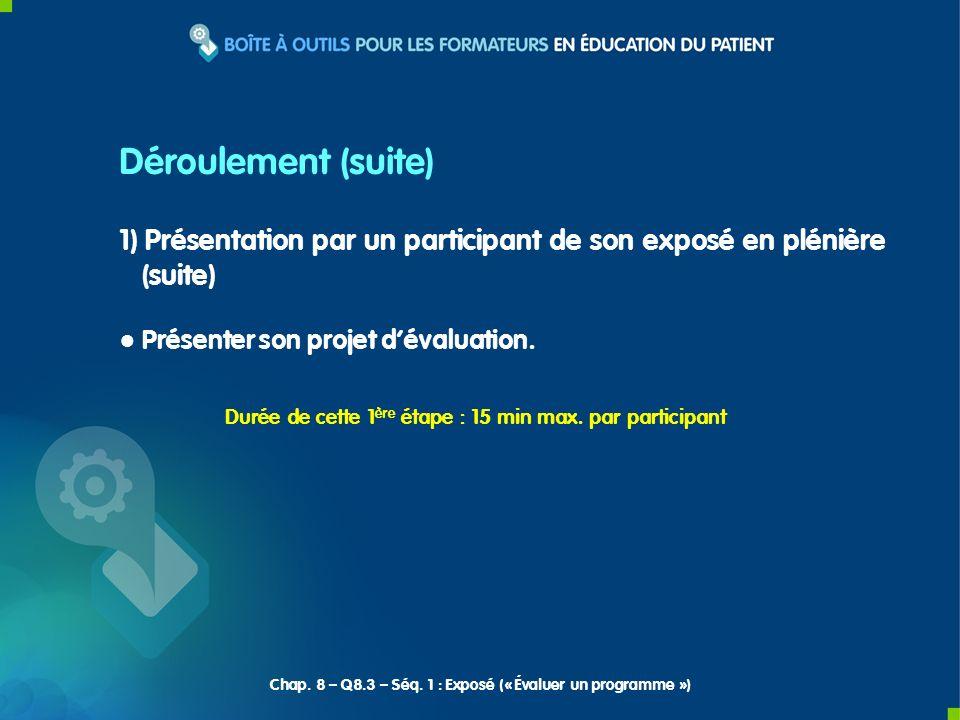 1) Présentation par un participant de son exposé en plénière (suite) Présenter son projet dévaluation. Déroulement (suite) Durée de cette 1 ère étape