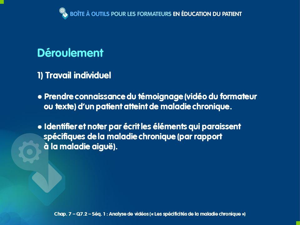 1) Travail individuel Prendre connaissance du témoignage (vidéo du formateur ou texte) dun patient atteint de maladie chronique. Identifier et noter p