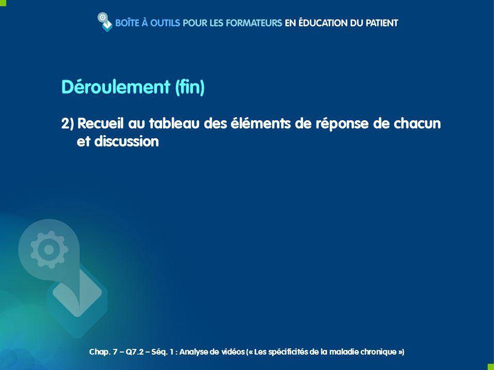 2) Recueil au tableau des éléments de réponse de chacun et discussion Déroulement (fin) Chap. 7 – Q7.2 – Séq. 1 : Analyse de vidéos (« Les spécificité