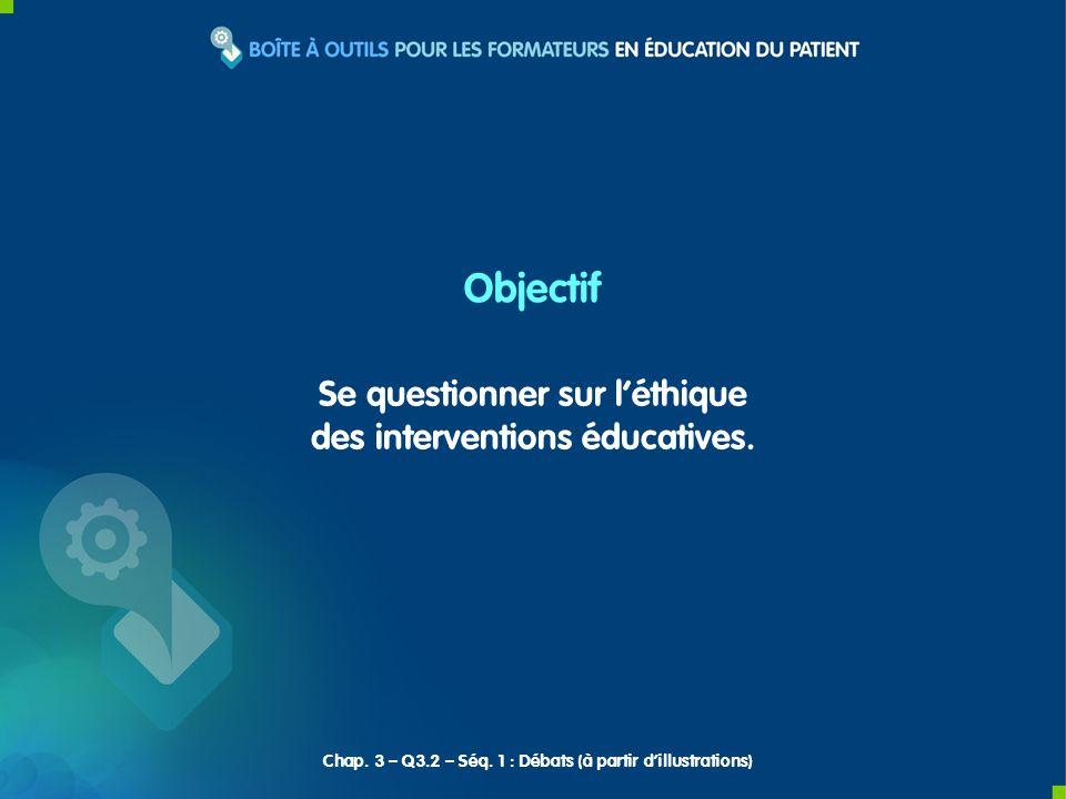 Se questionner sur léthique des interventions éducatives. Objectif Chap. 3 – Q3.2 – Séq. 1 : Débats (à partir dillustrations)