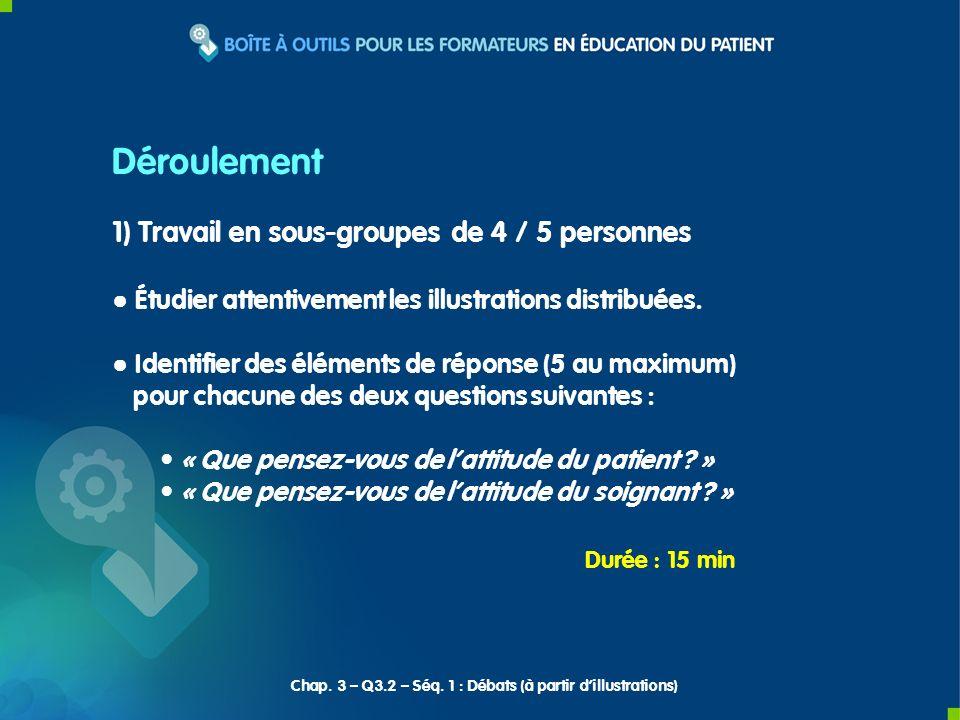 1) Travail en sous-groupes de 4 / 5 personnes Étudier attentivement les illustrations distribuées. Identifier des éléments de réponse (5 au maximum) p
