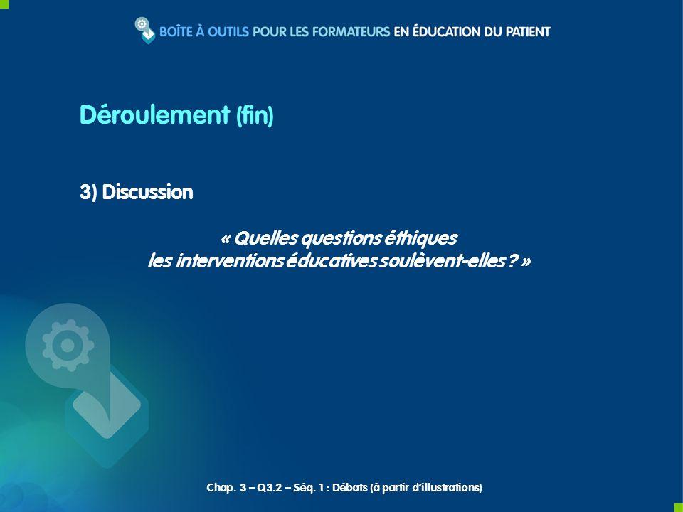 3) Discussion « Quelles questions éthiques les interventions éducatives soulèvent-elles ? » Déroulement (fin) Chap. 3 – Q3.2 – Séq. 1 : Débats (à part