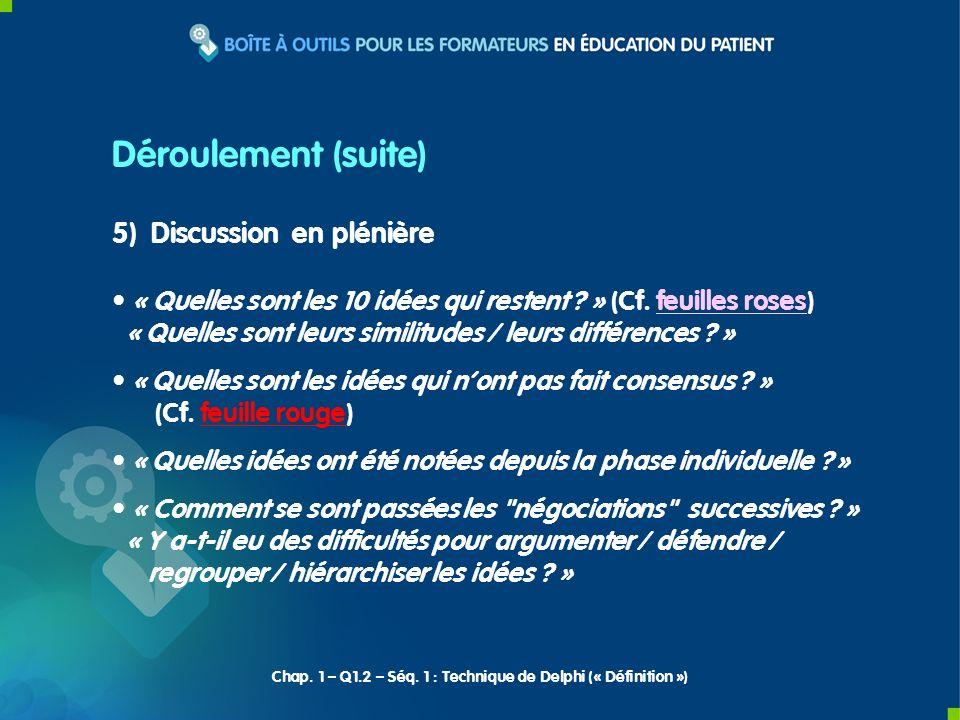 6) Synthèse du formateur Déroulement (fin) Chap.1 – Q1.2 – Séq.