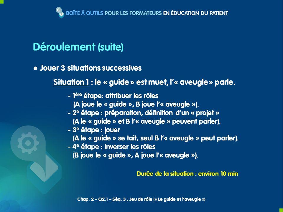 Jouer 3 situations successives Situation 1 : le « guide » est muet, l« aveugle » parle. - 1 ère étape: attribuer les rôles (A joue le « guide », B jou