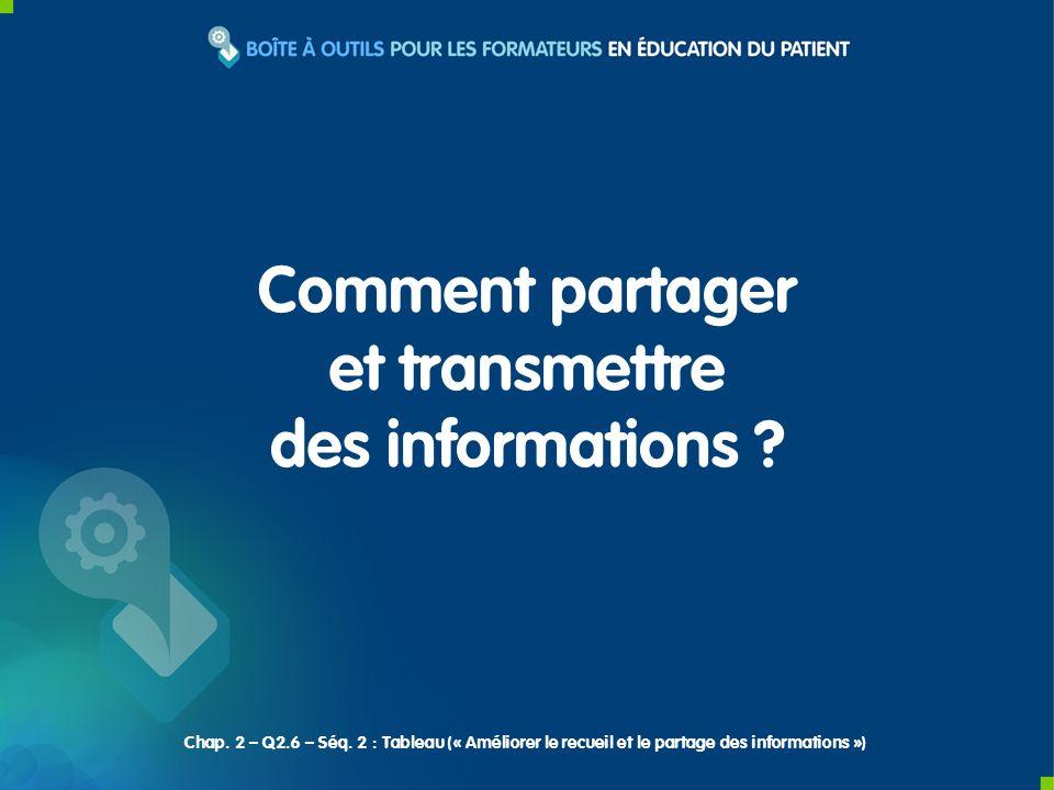 Comment partager et transmettre des informations ? Chap. 2 – Q2.6 – Séq. 2 : Tableau (« Améliorer le recueil et le partage des informations »)