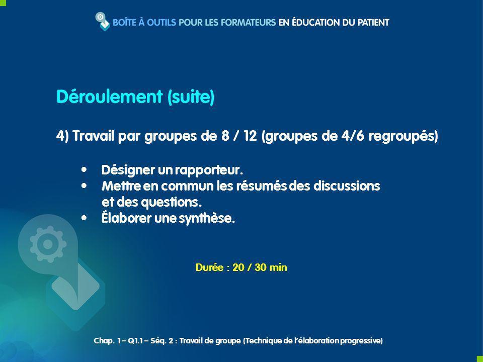 4) Travail par groupes de 8 / 12 (groupes de 4/6 regroupés) Désigner un rapporteur. Mettre en commun les résumés des discussions et des questions. Éla